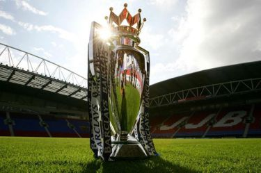 TOPIC Barclays Premiership trophy at the JJB Stadium